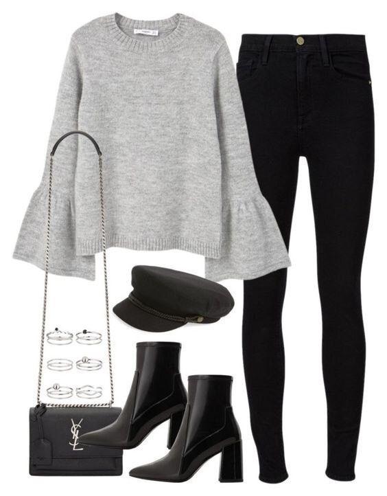graue Bluse mit schwarzen Jeans, schwarzen Booties und einem Caddy-Hut. Besuchen Sie Daily Dress