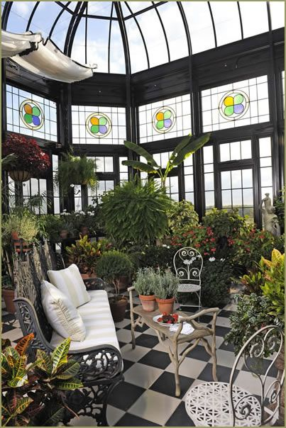 Conservatory With Stained Glass Details Tile Flooring