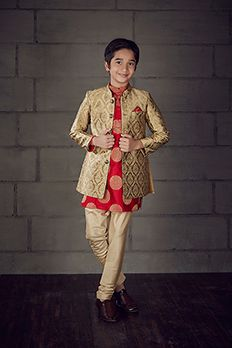 Brocade kurta churidar with long jacket highlighted with buttons from #Benzer #Benzerworld #KIdsWear #IndianwearForKids #Kurta