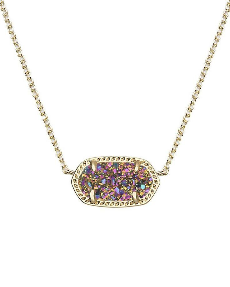 "A glittering stone sparkles at the center of a mesmerizing, versatile pendant necklace. - 15"" length; 2 1/2"" extender; 3/8""W x 3/4""L pendant dimensions. - Lobster clasp closure. - 14k-gold plate/drusy"