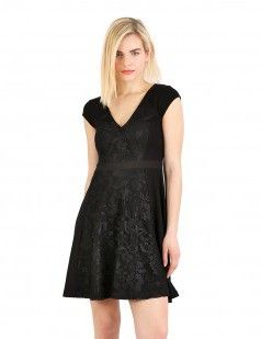 Black cross-over front flare dress
