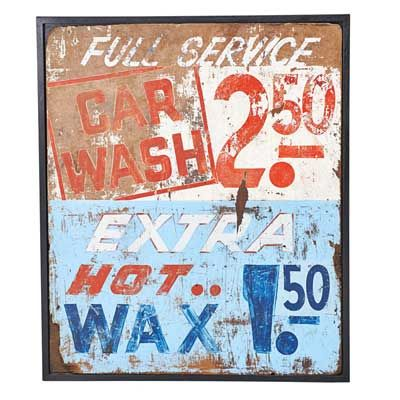Painted Wood Car Wash Sign, second half of 20th Century
