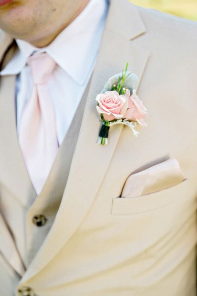 Spring rustic chic vintage wedding groom - three-piece tan suit + vintage pink spray rose boutonniere {Andie Freeman Photography}
