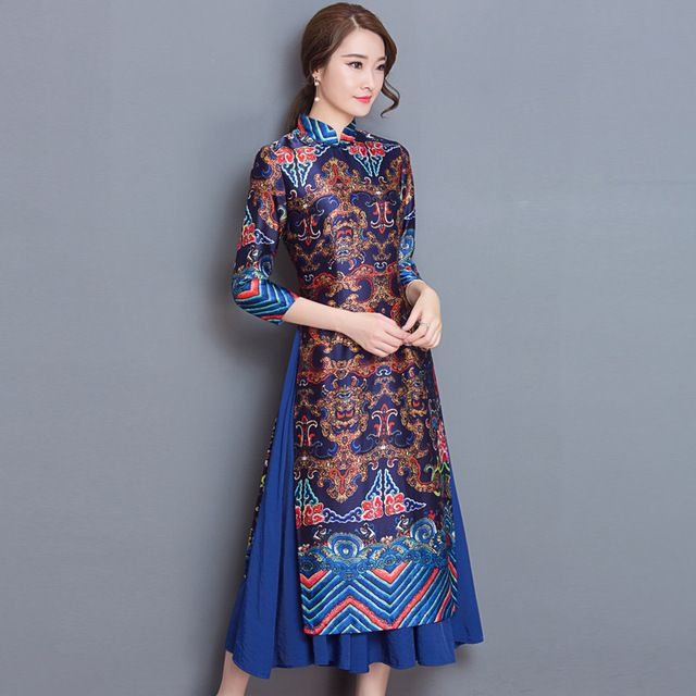 Vintage Vietnam Ao Dai Chinese Traditional Dress Chinese Dress Qipao Long Chinese Cheongsam Dress Robe Chinoise Modern Cheongsam