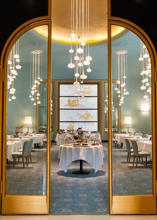 Turin Palace Hotel - Restaurant Entrance with golden metallic frame      www.bocadolobo.com #bocadolobo #luxuryfurniture #exclusivedesign #interiodesign #designideas #hotelinterior #hoteldesign #hotelroom #hotellobby #luxuryhotel #modernhootel #boutiquehotel