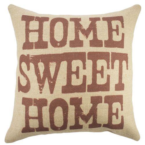 'Home Sweet Home' Burlap Throw Pillow