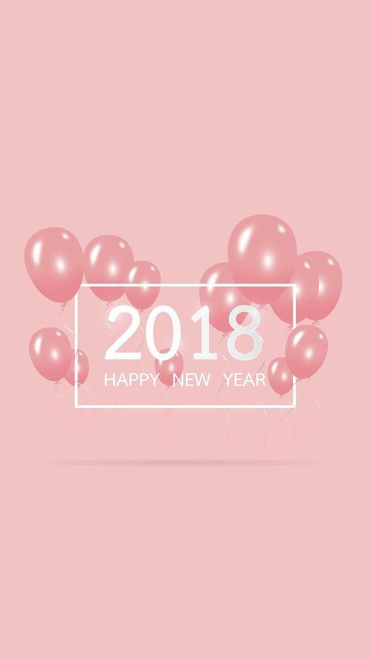 """Pastel Pink """"Happy New Year 2018""""- Wallpaper for iPhone and Android ♣️Fosterginger.Pinterest.Com🌑More Pins Like This One At FOSTERGINGER @ PINTEREST 🌑No Pin Limits🌑でこのようなピンがいっぱいになる🌑ピンの限界🌑"""