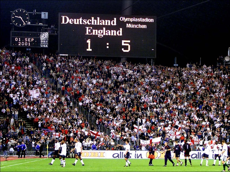 .....England moment. England beating Germany, in Germany 5-1. We went 1-0 down and everything looked gloomy. Then up steps Owen with a hat-trick, Gerrard and of all people Emile Heskey. Sven Goran Erikkson's England never looked as good again. Had a celebratory Guiness after the game with my father-in-law.