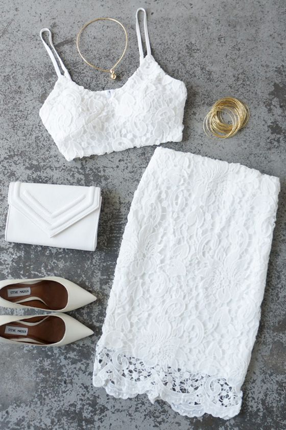 Lacy Daisy White Two-Piece Dress @loveyourfacee