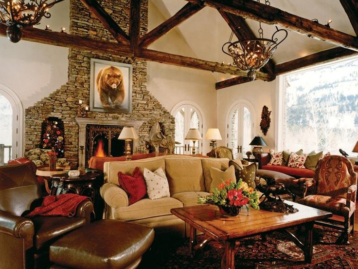 134 best rustic great rooms images on pinterest for Rustic great room
