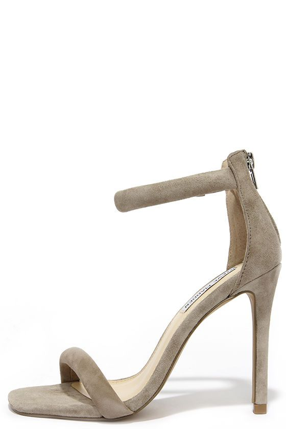 Perfect neutral sandals! | Steve Madden Fancci Taupe Suede Ankle Strap Heels at Lulus.com!