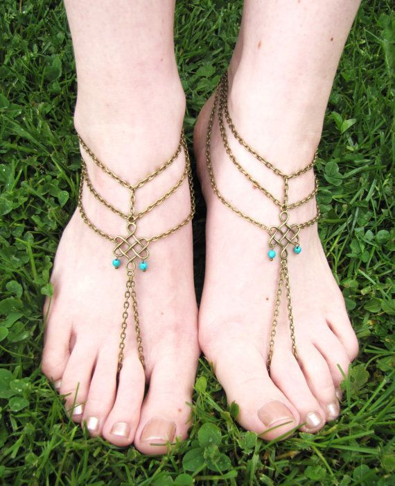 Foot jewelry -                                                      Rhinestone Barefoot Sandals Foot Jewelry by SubtleExpressions, $19.00