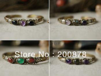 BB-177 тибетских ювелирных изделий металла инкрустированные цветные бусины браслет, Непал тонкий открытым манжеты регулируемый браслет, зака...