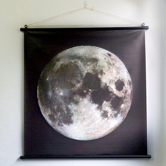 The full moon giant poster lunar moon wall art decor for Modern art home decor etsy