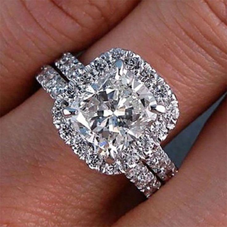 3.00 Carat GIA Cushion Cut Flawless Diamond Engagement Ring Bridal Set 18K Gold #DiamondsByElizabeth #HaloBridalSet