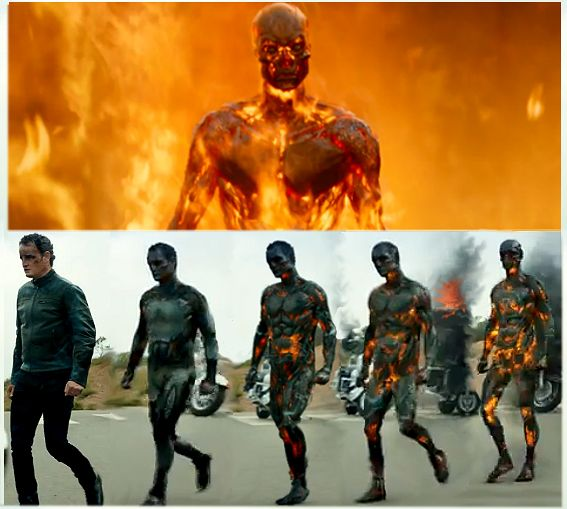 Terminator Genisys: John Connor as T-3000 series human hybrid liquid metal machine.