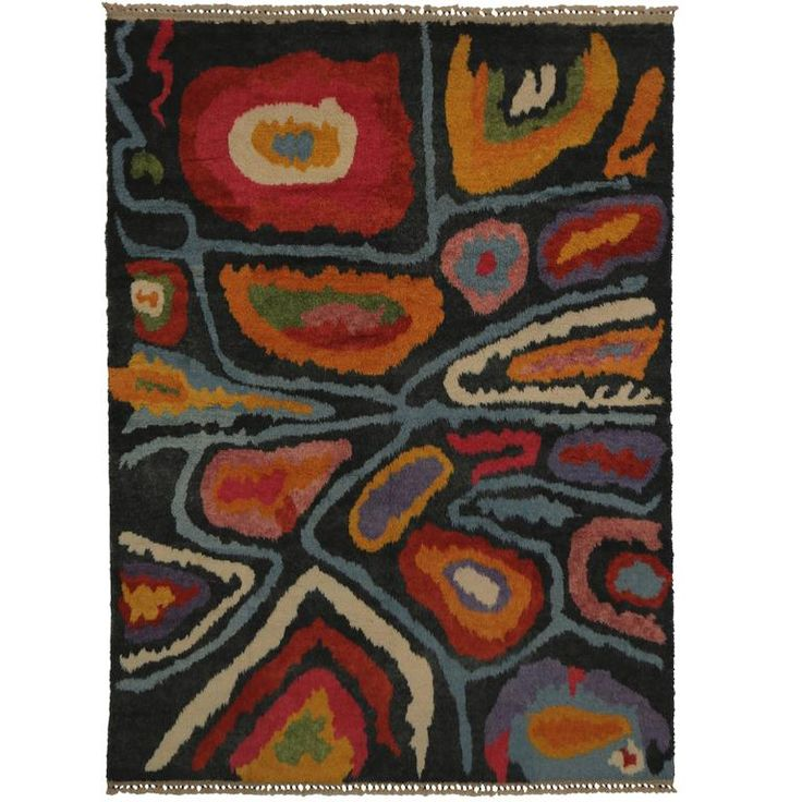 Modern Turkish Tulu Shag Rug with Contemporary Abstract Style  | From a unique collection of antique and modern moroccan and north african rugs at https://www.1stdibs.com/furniture/rugs-carpets/moroccan-rugs/