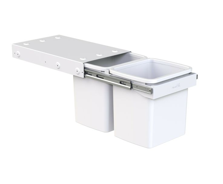 Hideaway Compact model: KC30SCH. 2 x 15L buckets, handle pull. Fits a standard supermarket shopping bag. Install two units within the standard carcass height to provide a four-bin recycling solution.