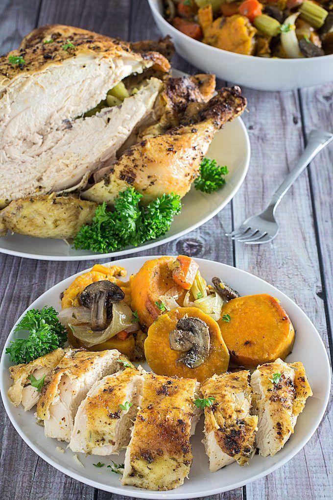 horno holandés pollo entero y patatas