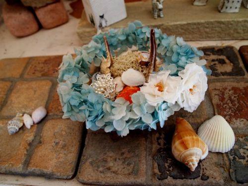 貝殻を使ったリングピロー