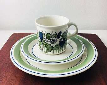 "Vintage Arabia Finland coffee cup with saucer and dessert plate named ""Krokus"" by Esteri Tomula,1970s"