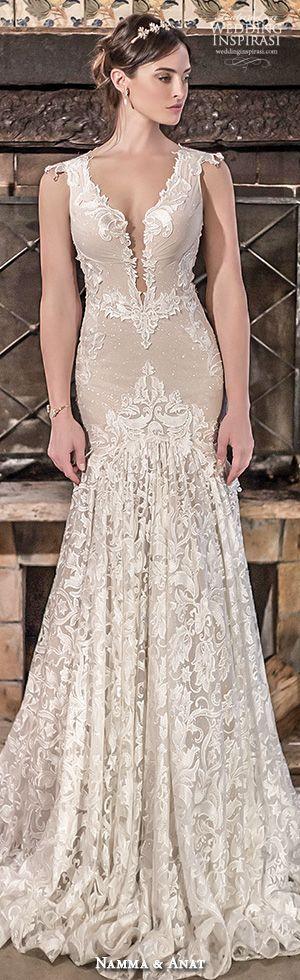 naama anat bridal 2017 cap sleeves split sweetheart trumpet wedding dress #mermaidweddinggown #weddingdress #wedding
