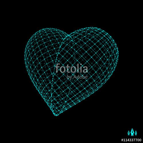 Vektor: Love heart symbol. Design element. 3d vector illustration.