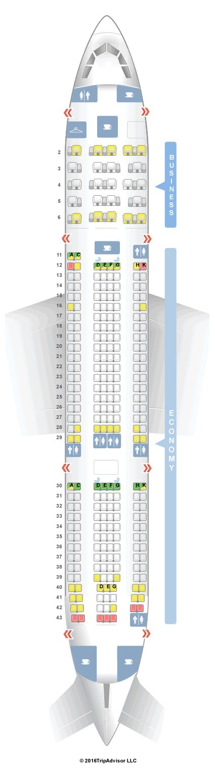 BOTH WAYS-Seat Map Aer Lingus Airbus A330-200 (332) V1 Very uncomfortable, and extremely narrow seat. Not suitable for adults. Lots of galley noise for the entire flight makes resting/sleeping impossible.