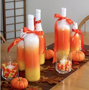 Repurpose Wine Bottles into fun Fall decoration. (also great to do for a bridal shower) just paint in the colors of the bridal party