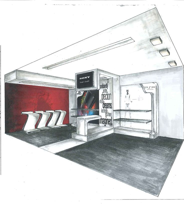 Concept Store Design, Interior - 2 Point Perspective, Renered, Copic Marker & Photoshop, November 2010