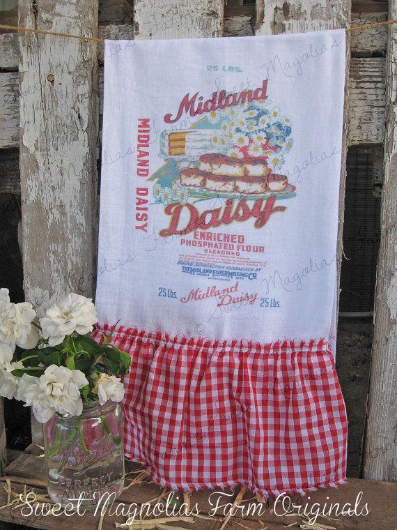 flour sack kitchen towel white or natural farmhouse style country cottage chic ruffle advertising vintage feedsack midland daisy flour - Kitchen Towels New Design