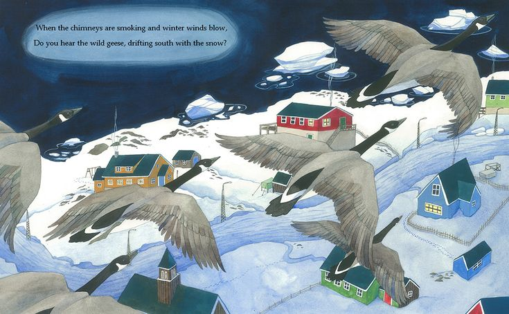 A double page spread for Seasons of Wonder (Lionhudson Sept. 2017) depicting geese flying over a village in Greenland.