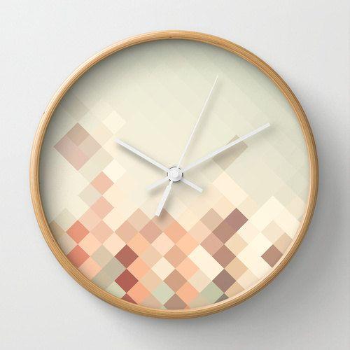 Dreieck Geometrische Wand Uhr Wohnkultur Dekoration Haushaltswaren Entwurf Diamant Braun Und Leichte Blaue Muster