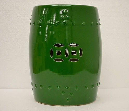 Green Porcelain Garden Stool Side End Table Stand