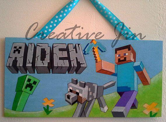 minecraft inspired Door sign  nursery art  boy room plaque  personalized  name art  hand painted. 20 best Noelle s Minecraft Bedroom images on Pinterest   Minecraft