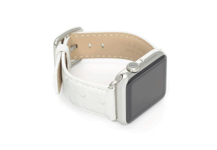 $ 149.00 Snow Flake - The white ostrich leather strap made in Italy, is pure white and soft, perfect for the Apple Watch of a classy lady. Just 38 mm