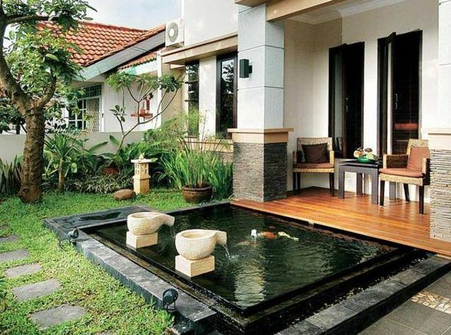 What a lovely front door pond :) will add this to my future home
