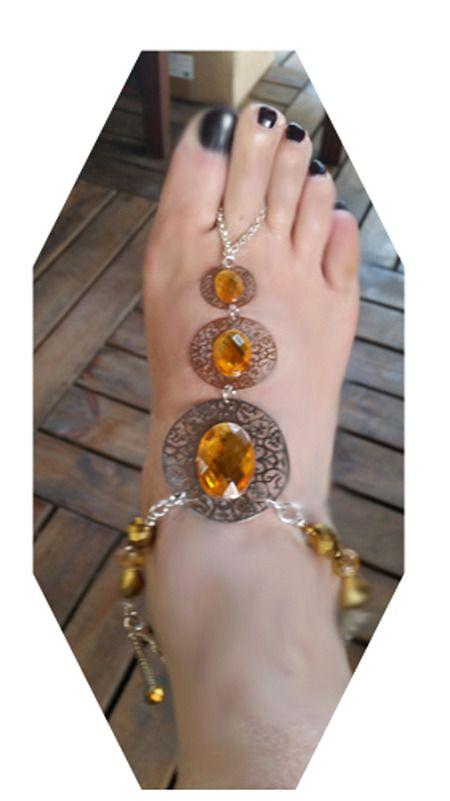 sandali a piedi nudi argento con strass color giallo oro, cristalli, catena di alluminio anodizzato argento : Catenine di giujoux