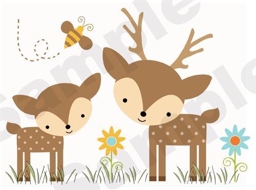 Woodland Forest Animals Deer Owl Bee Baby Nursery Wall