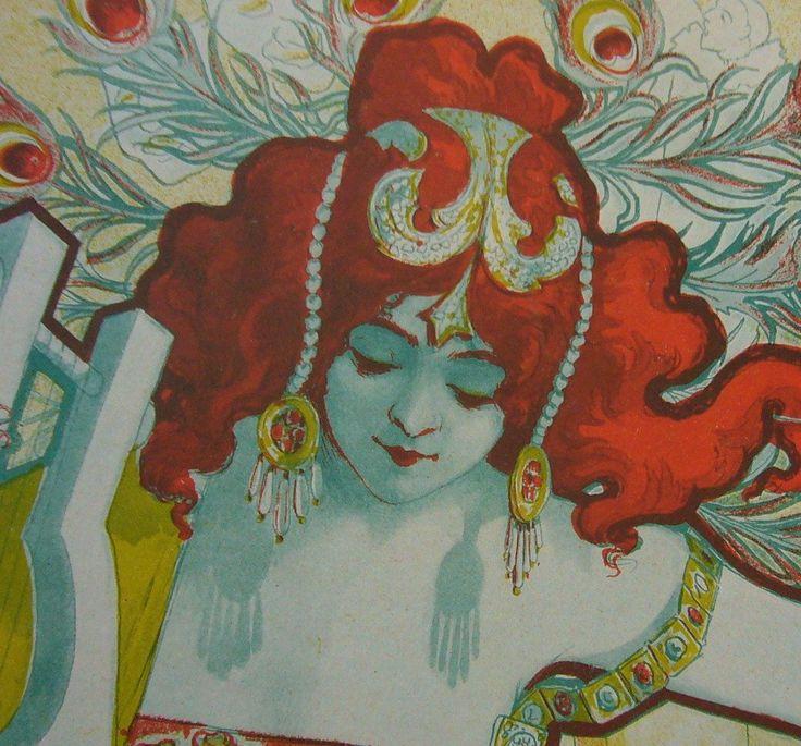 Affiche Originale Française Art Nouveau (1897), Les Programmes Illustrés, Couverture Style Médusa - Oury #affiche #affiche-francaise #affiche-francaise-classique #art-nouveau #belle-epoque #blanc #cafes-concerts #cartes-dinvitation #colore #couverture #ernest-maindron #fashion #femme #france #illustration #instrument-de-musique #jaune #lettrage #librairie-nilsson #louis-oury #medusa #meduse #menus #mode #mode-feminine #musique #orange #originale #oury #paon #paris #petit #petite…