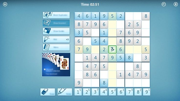 Microsoft Sudoku // Microsoft Sudoku is the classic game you love, with a modern look and feel and exciting new features. With five difficulty levels, fresh daily challenges, achievements and leaderboards, Microsoft Sudoku provides hundreds of brain training puzzles for players of all ages.