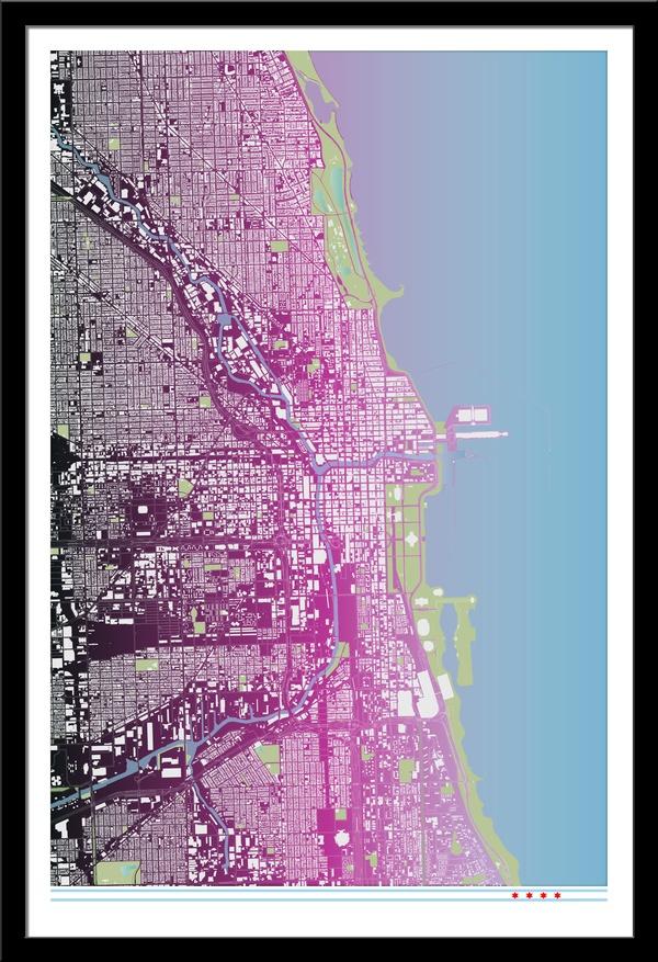 Chicago Building Footprint Map Purple via Etsy