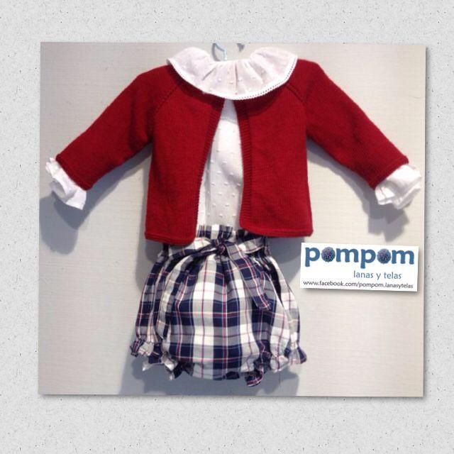 Conjunto ranita chaqueta #punto #hechoamano #niño #rojoguinda #cuadros #modaotoño