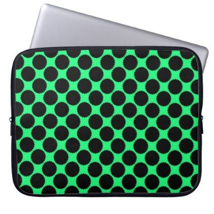 Black Polka Dots On Kiwi Green Computer Sleeve - patterns pattern special unique design gift idea diy
