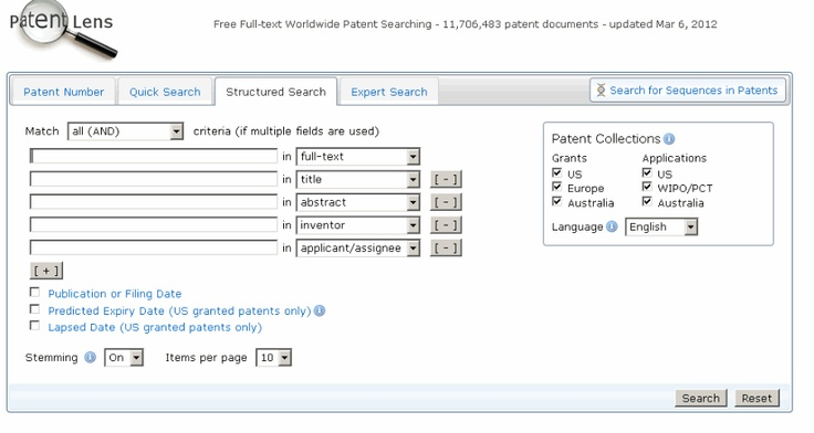 Patent Lens is a free patent search system developed by CAMBIA.  Read the full System Report at Intellogist:  http://www.intellogist.com/wiki/Report:Patent_Lens/System_Data