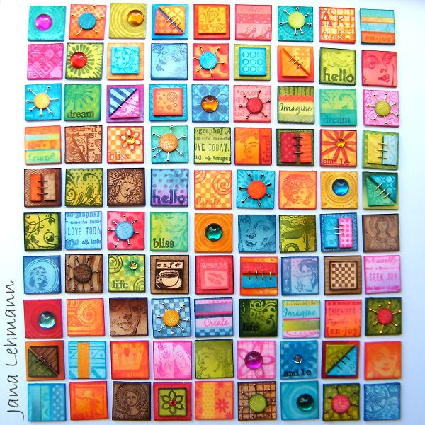 Inchies by feeliz (Jana Lehmann), via Flickr; pinned under a Creative Commons Attribution license. I really like the bright, cheerful colors here - and the quilt-like results. What is stunning, is that these are made from polymer clay!