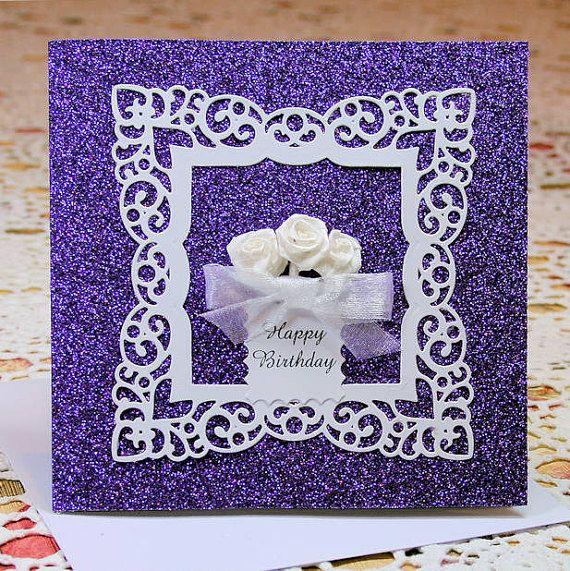Happy Birthday Purple 300gsm Glitter Card with by CardsbyCoralJean