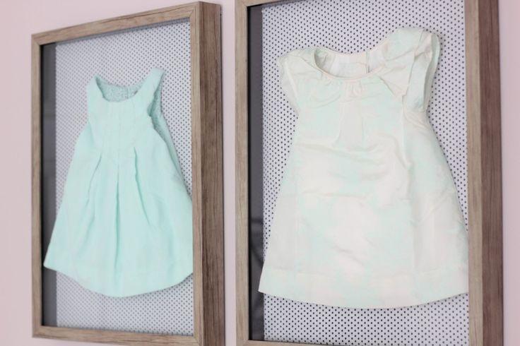 Nursery Decor Idea: Frame Heirloom or Sentimental Baby Clothes as Decor!Little Room, Baby Girls, Shadows Boxes, Frames Dresses, Drew Nurseries, Display Baby, Boxes Frames, Dresses Display, Baby Stuff