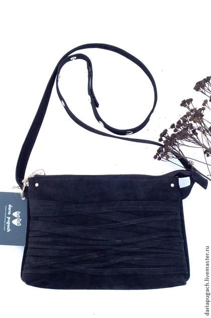Сумочка мини замшевая черная - чёрный,однотонный,натуральная кожа,замша