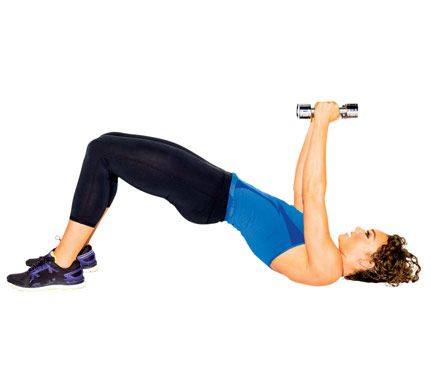 Lie faceup with knees bent, feet flat, a weight in each hand. Lift hips to form a straight line from shoulders to knees as you press weights above chest, palms in (as shown). Lower arms out to sides to hover just above floor. Raise arms back to ceiling, then lower hips and weights to start for 1 rep. Do 12 reps.